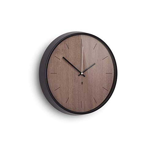 (Umbra Madera Wall Clock, Walnut/Black)