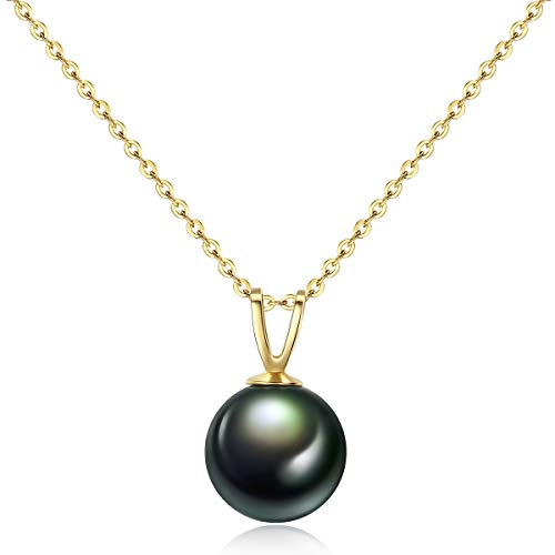 (Mints Tahitian Cultured Pearl Necklace Pendant 18K Gold Jewelry Women 15.5-17 Inches)