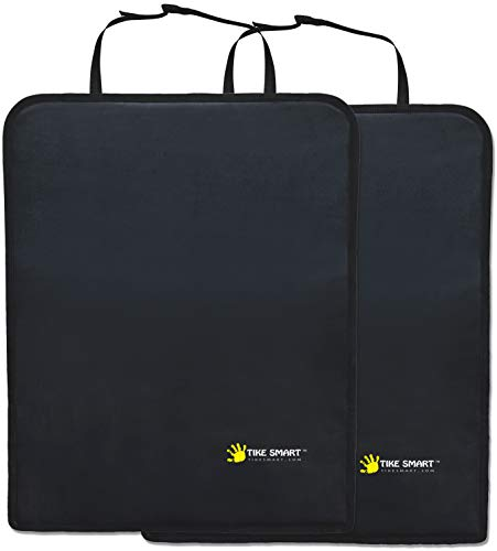 Tike Smart Premium Kick Mats - Luxury Seat Back Protectors and Seat Covers with Invisible Strap - 2-Pack - Black