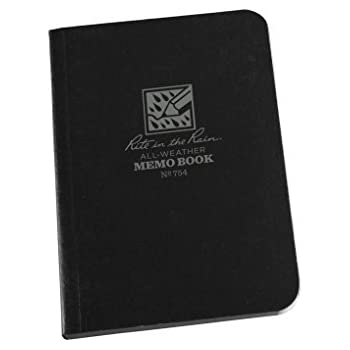 """Rite in the Rain All-Weather Soft Cover Pocket Notebook, 3 1/2"""" x 5"""", Black Cover, Universal Pattern (No. 754)"""