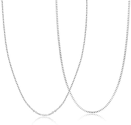 Sllaiss 2Pcs 925 Sterling Silver 1MM Box Chain Necklace For Women Men Cable Chain Necklace 28 Inch