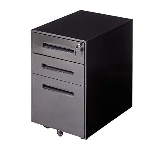 Locking File Cabinet Rolling Metal Filing Cabinet 3 Drawer Fully Assembled Except Wheel(Black-B)