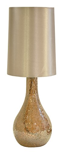 Urban Shop Mosaic Glass Lamp with Satin Shade with CFL Bulb,