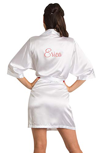 Zynotti Women's Personalized Embroidered Satin Robe White Satin Robe S/M -