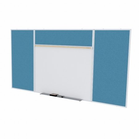 Ghent SPC48E-V-191 4 ft. x 8 ft. Style E Combination Unit - Porcelain Magnetic Whiteboard and Vinyl Fabric Tackboard - Ocean by Ghent