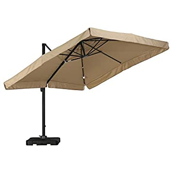 GDF Studio Archie Home Atlantic Outdoor 9.8-Foot Canopy Umbrella with Base-Taupe