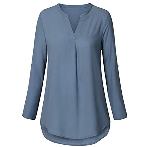 Henleys,Toimoth Womens Daily Chiffon Long Sleeve Loose Solid V Neck Cuffed Shirt Blouse Tops(Sky Blue,M)