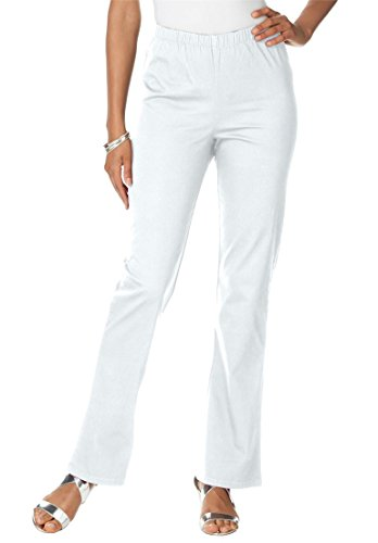 Women's Plus Size Tall Stretch Bootcut Jeggings White,18 T