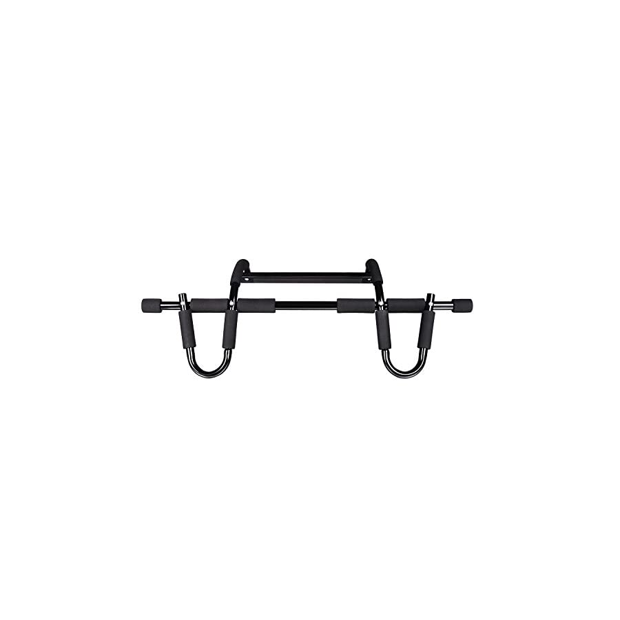Fitness Sports Heavy Duty Pull Up Bar Multi Grip Chin Up Bars and Stamina Doorway Trainer with Remove for Home Gym Chorme Black