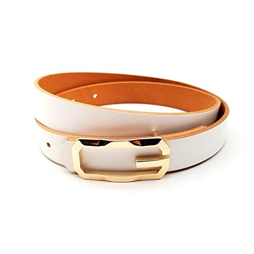 QXU-DIMDIM Women's Belt New top Layer Cowhide Leather Smooth Buckle Women's Decorative Belt (Color : White, Size : 105cm)