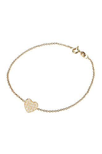 Diamond heart bracelet, 14k solid gold ()