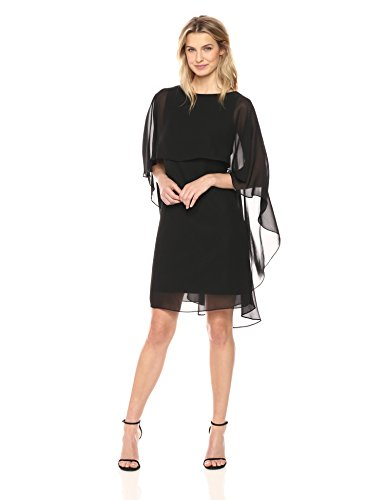 Tiana B Women's Chiffon Capelet Dress, Black, (Capelet Dress)