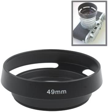 Black Ychaoya Camera Lens Accessories 49mm Alloy Vented Lens Hood for Leica