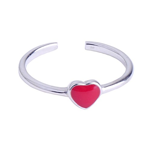 yihan jewelry Sterling Silver Plated Red Agate Heart Shape Women Adjustable Open Band - Silver Hearts Plated Sterling Ring