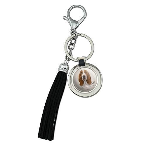 Basset Hound Dog Breed Chrome Plated Metal Round Leather Tassel Keychain