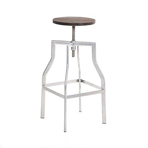 Buschman Swivel Metallic Gray Industrial Pub Height Bar Stool Wood Seat