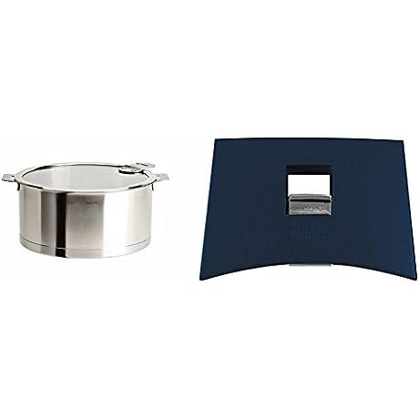 Cristel Strate C16QLKSA Saucepan 1 5 Quart Silver With Cristel Mutine Spplmaeb Set Of Handles Blue Ink