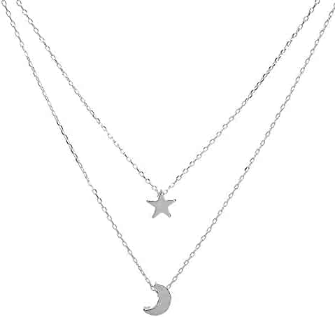 e376f59cfc9 Joopee Fashion Elegant Style Doublelayer Star Moon Shape Choker Chains  Necklace Jewelry Gift for Girlfriend Ladies