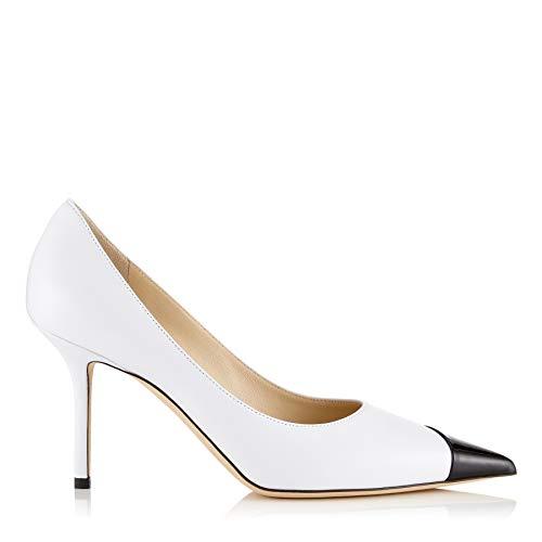 MANRINO Magic 10 cm High Heel Handmade Women Shoes Asymmetric Patent PU Leather Pointy Toe Pump Dress Shoes (US 6 M, White&Black) 100 Mm Black Magic
