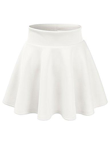 Spandex Reversible Skirt (CLOVERY Women's Midi Length Sporty Designed Active Wear White M)