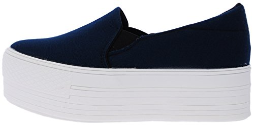 C7 50 Synthetic Cotton White Platform Slip on Sneakers Navy 6 B(M) US Womens
