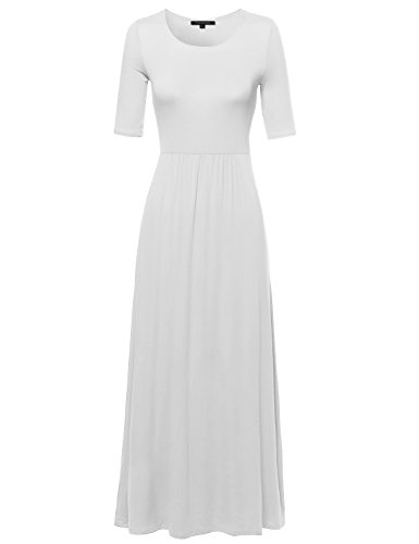 Basic Scoop Neck Short Sleeve Empire Waist Maxi Dress White L Size