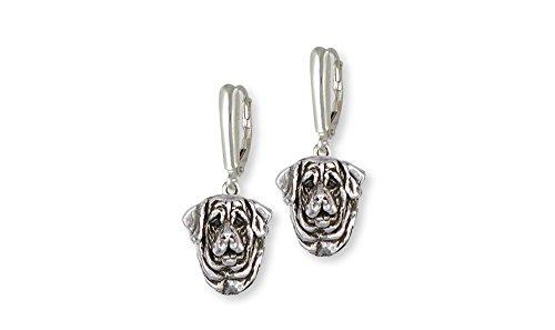 Mastiff Jewelry - Mastiff Jewelry Sterling Silver Mastiff Earrings Handmade Dog Jewelry MT1-LB