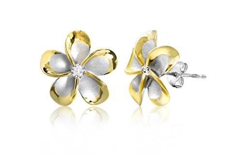 Sterling Silver with 14k Yellow Gold Plated Trim CZ Plumeria Stud Earrings, 14mm (Silver 14ct Plated Sterling Gold)