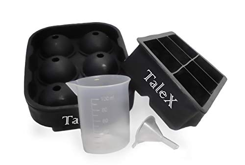 Talex Silicone Ice Cube Trays and a Sphere Ice Maker with Lid. The Big Ice Cube Mold with Measuring Cup and Funnel, Best for Whiskey, Cocktail, Liquor, etc.(2pc/pack)