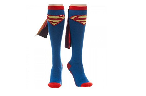Supergirl Knee High Socks (Superman Red & Yellow Logo Blue Knee High Socks with Red Shiny Cape Size)