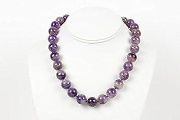 Collar amatista, cuentas de una sola hebra, amatista de los dientes, moda de la mujer, collar de piedras preciosas, joyas hechas a mano, joyería de gemas de 14 mm