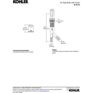 Kohler K-9110-PB Air Gap Body with Cover, Vibrant Polished Brass by Kohler (Image #1)