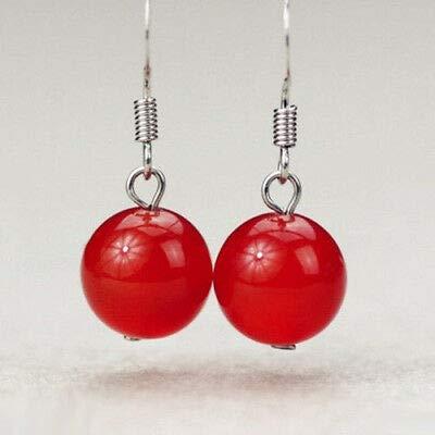 FidgetKute 10mm Red Jade Round Beads Silver Hook Earrings ()