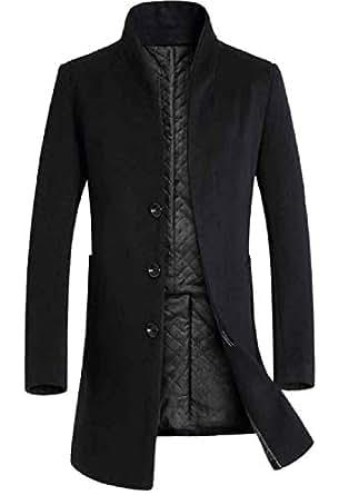 xiaohuoban Mens Wool Stand Collar Single Breasted Maxi
