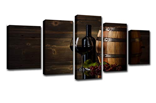 WINSEN Canvas HD Prints Posters Home Wall Art Pictures 5 Pieces Grape Red Wine Glasses Oak Barrel Paintings Restaurant Décor