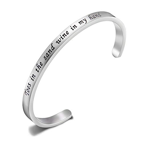 Stainless Sand Bracelet Steel Cuff (KUIYAI Toes in The Sand Wine in My Hand Bangle Cuff Ocean Beach Lover Bangle Wine Lover Gifts (Silver))
