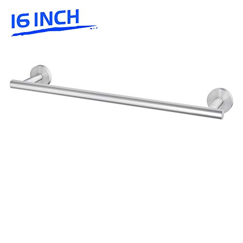 LuckIn 16 Inch Towel Bar Brushed Nickel Hand Towel Rod, Stainless Steel Kitchen Dish Towel Holder, Wall Mounted Bathroom Towel Rack Modern Single Rail Silver Hanger for Shower, TR0016