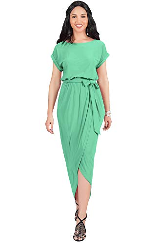- KOH KOH Plus Size Womens Long Crewneck Casual Short Cap Sleeve Sexy Slit Split Pencil Skirt Beach Spring Summer Gown Gowns Solid Stretchy Modest Maxi Midi Dress Dresses, Light Emerald Green XL 14-16