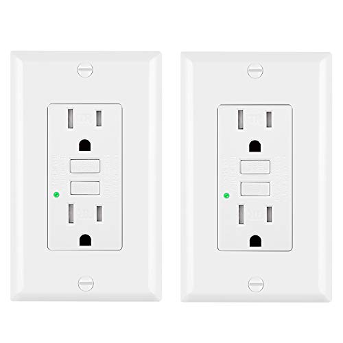 [2 Pack] BESTTEN Tamper-Resistant GFCI Outlet Receptacles (15Amp 125Volt), LED Indicator, Decorative Wall Plates and Screws Included, White, ETL Certified