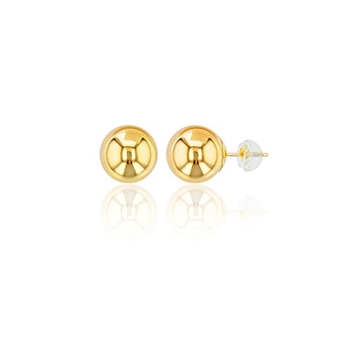 Decadence 14K Gold Yellow 7mm Ball Stud Earrings and 14K Silicone Back, 7 - Gold 7mm Ball Earrings Yellow