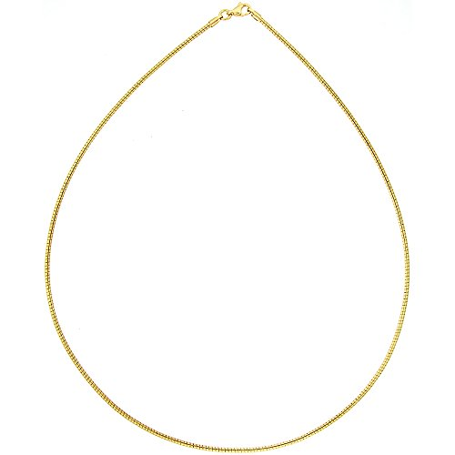 (Sabrina Silver Stainless Steel Round Omega Necklace for Women Gold Plated 1.8mm, 18 inch)