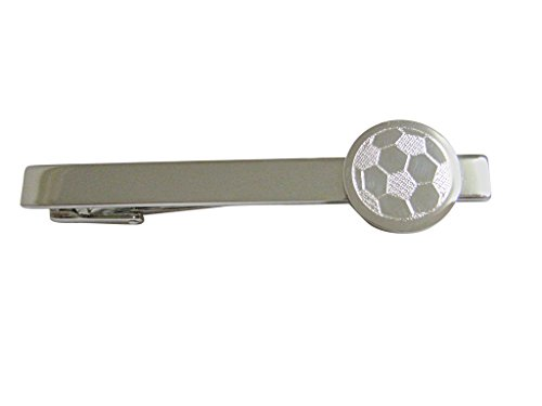 Kiola Designs Silver Toned Etched Round Soccer Ball Square Tie Clip