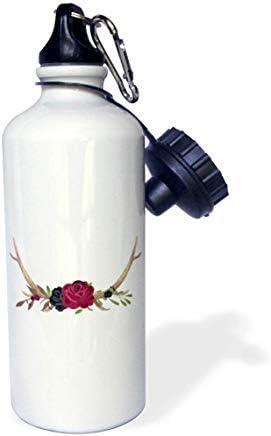 GFGKKGJFD603 - Botella de Agua de Aluminio con diseño de Cuernos de Animales, Decorada con Rosas y Flores moradas oscuras, Color Blanco