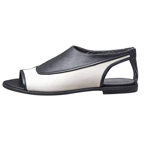 Women Summer Flat-Bottomed Roman Sandals Strappy Sandals Ankle Flat Straps Shoes Beach Shoes Open Toe Roman Sandals