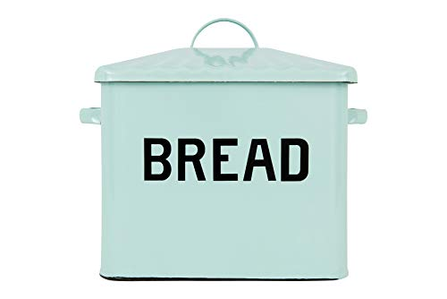 Creative Co-op Enameled Metal Distressed Bread Box with Lid, - Blue Box Bread