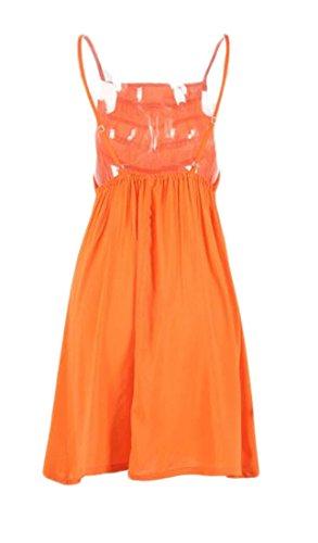 Sleeveless Womens Dress Strap Spaghetti Tassel Loose Beach Cruiize Orange fZqXPZ