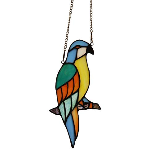 Makenier Tiffany Style Stained Glass Blue Parrot Window Hanging Sun Catcher