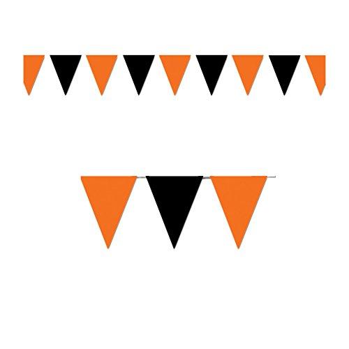 Beistle Party Decoration Orange & Black Outdoor Pennant Banner 17