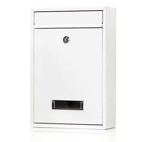 Locking Mailboxes Wall Mounted Vertical - Jssmst Key Lock Mail Box Medium Capacity Galvanized Steel Cover Rust-Proof Metal Post Box, 12.6 x 8.5 x 3.4 Inch, White,SM-0604L