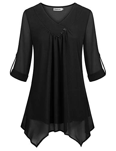 Ouncuty Tunic Shirt for Women to Wear with Leggings, Women's Spring Split V Neck Short Sleeve Ruched Thick Breathable Swing Asymmetrical Hem Blouse for Skinny Jeans Demi Pencil Pants Large Black L ()